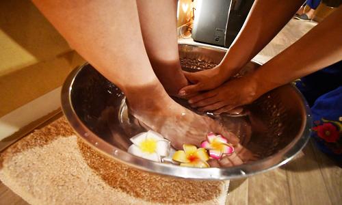 足湯でリラックス効果